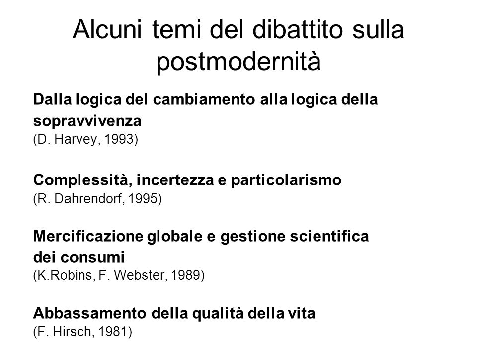 Alcuni temi del dibattito sulla postmodernità