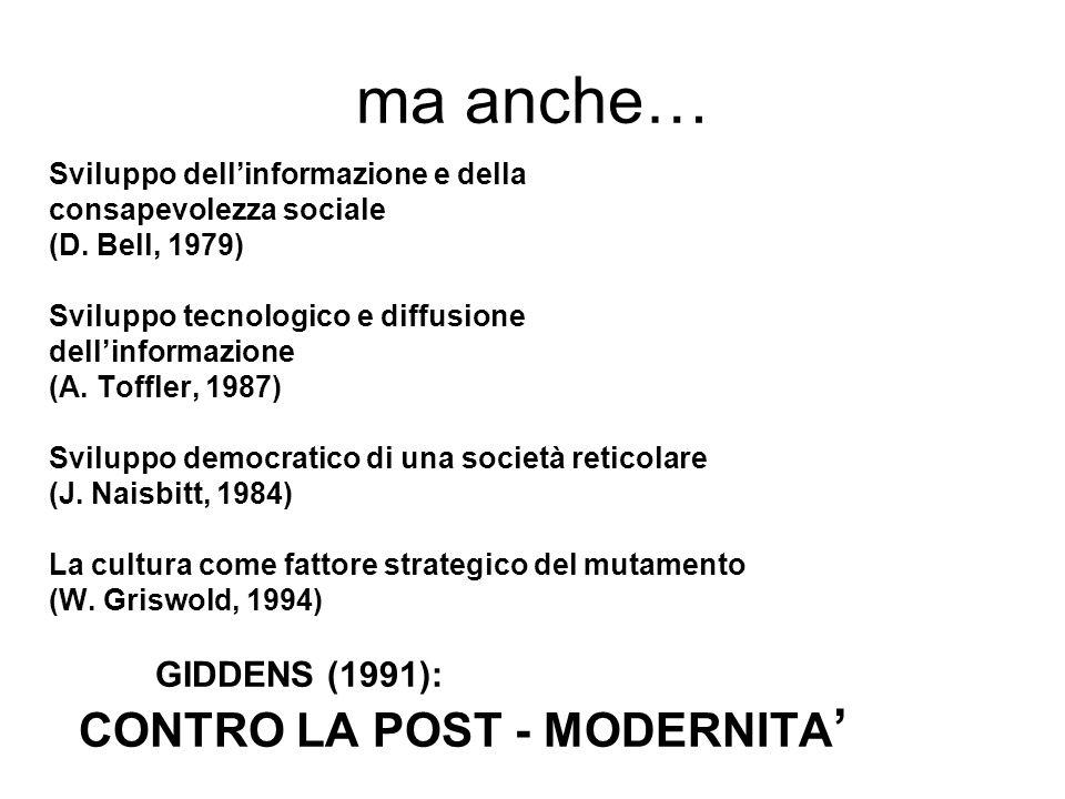 ma anche… CONTRO LA POST - MODERNITA' GIDDENS (1991):