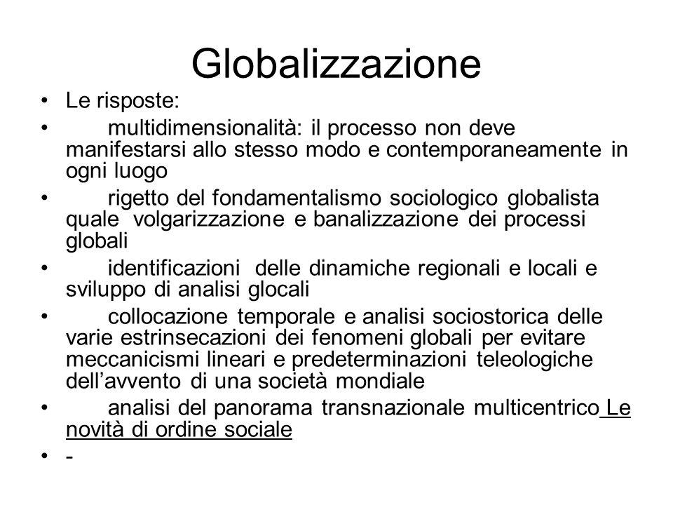 Globalizzazione Le risposte: