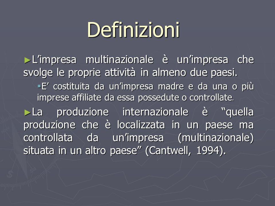 Definizioni L'impresa multinazionale è un'impresa che svolge le proprie attività in almeno due paesi.