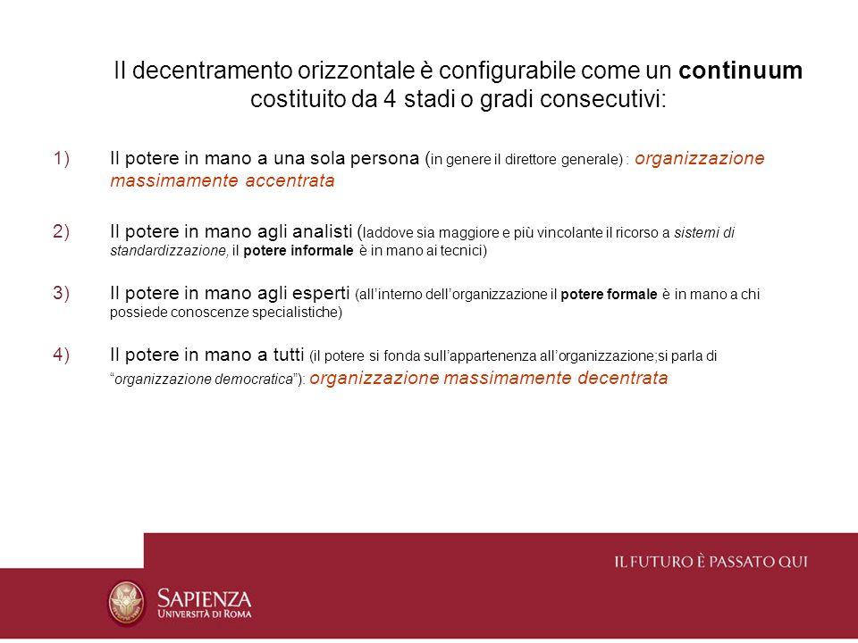 Il decentramento orizzontale è configurabile come un continuum costituito da 4 stadi o gradi consecutivi: