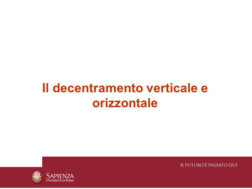 Il decentramento verticale e orizzontale