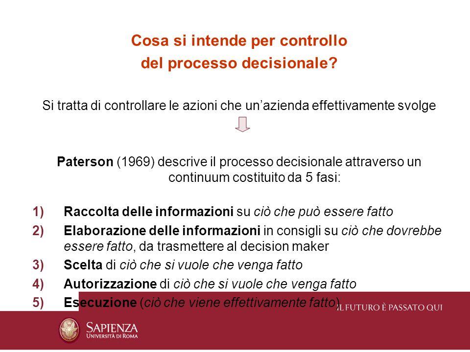 Cosa si intende per controllo del processo decisionale