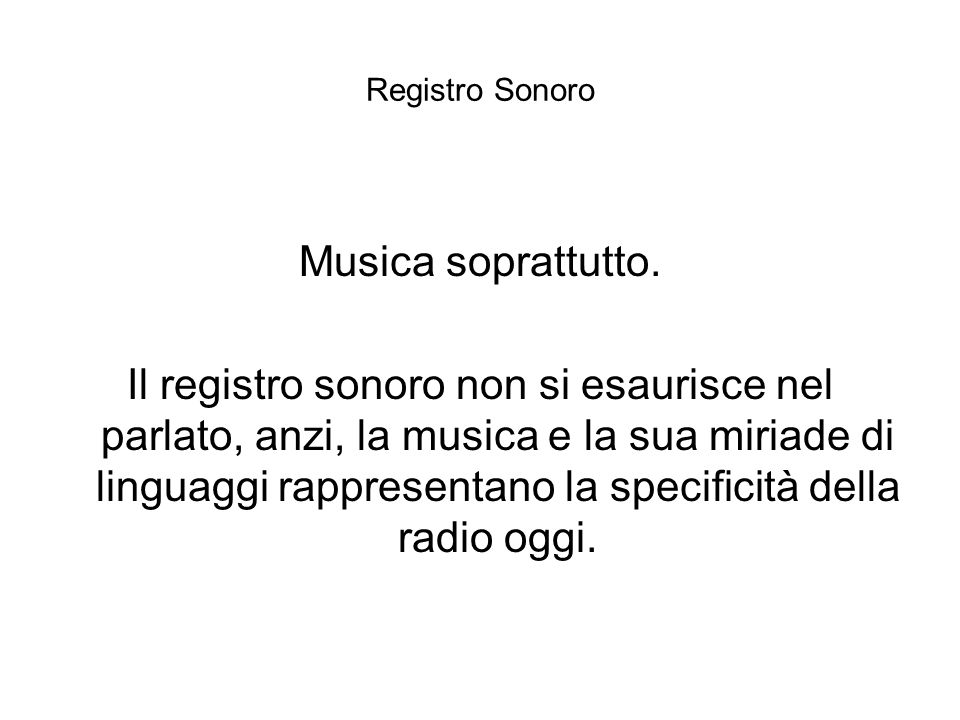 Registro Sonoro Musica soprattutto.