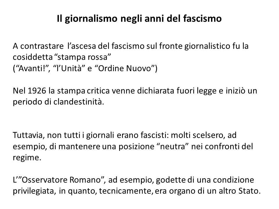 Il giornalismo negli anni del fascismo