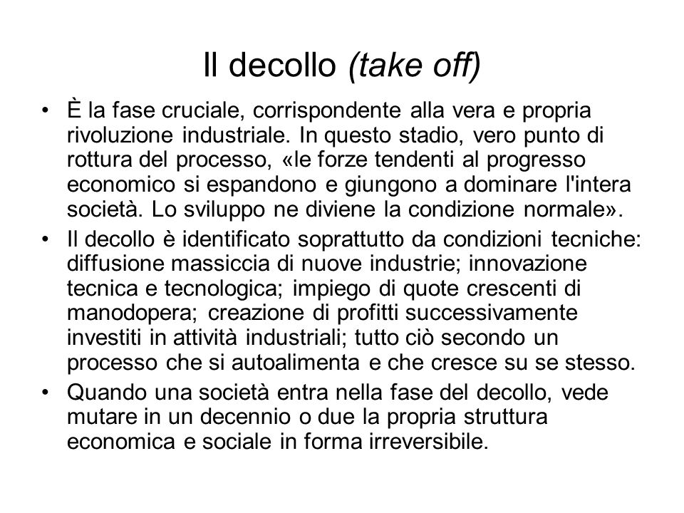 Il decollo (take off)