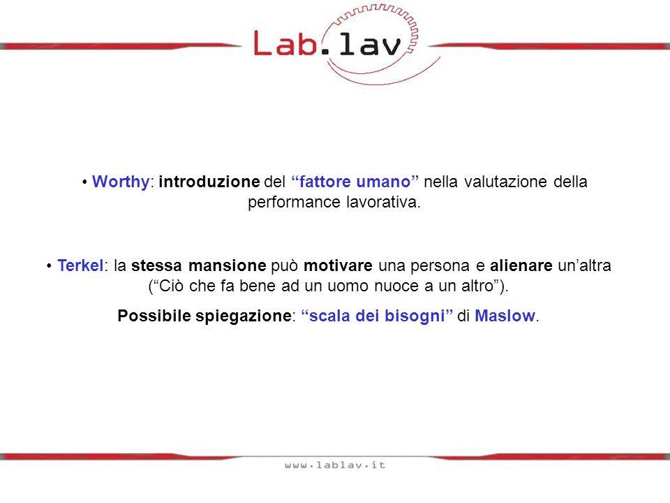 Possibile spiegazione: scala dei bisogni di Maslow.