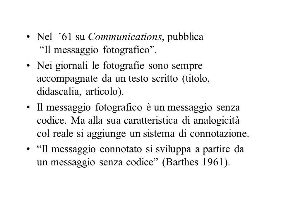 Nel '61 su Communications, pubblica Il messaggio fotografico .
