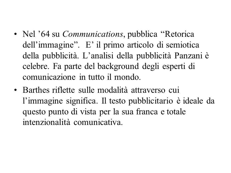 Nel '64 su Communications, pubblica Retorica dell'immagine