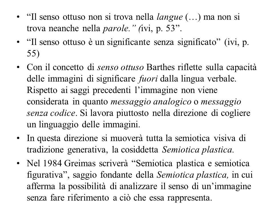 Il senso ottuso non si trova nella langue (…) ma non si trova neanche nella parole. (ivi, p. 53 .