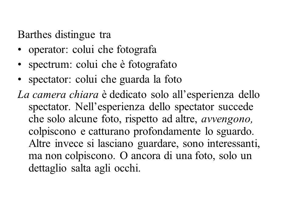 Barthes distingue tra operator: colui che fotografa. spectrum: colui che è fotografato. spectator: colui che guarda la foto.