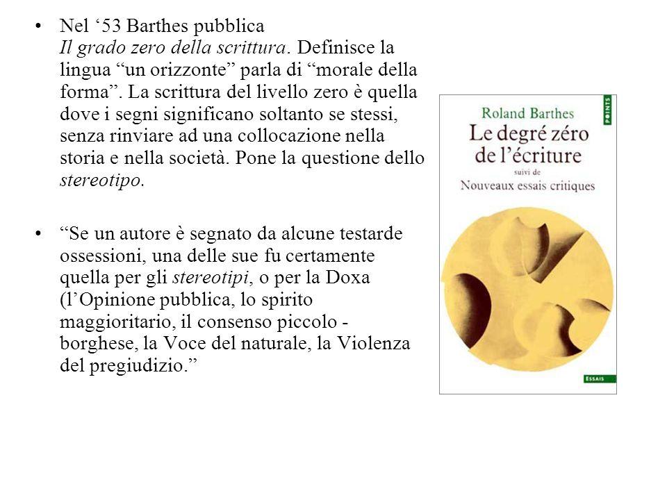 Nel '53 Barthes pubblica Il grado zero della scrittura
