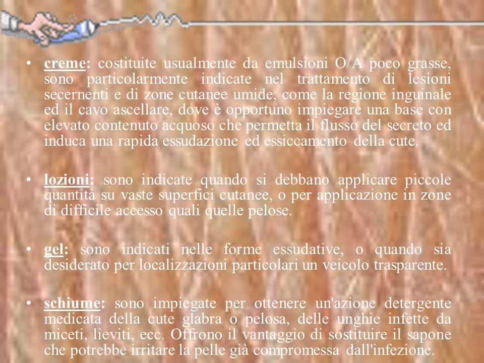 creme: costituite usualmente da emulsioni O/A poco grasse, sono particolarmente indicate nel trattamento di lesioni secernenti e di zone cutanee umide, come la regione inguinale ed il cavo ascellare, dove è opportuno impiegare una base con elevato contenuto acquoso che permetta il flusso del secreto ed induca una rapida essudazione ed essiccamento della cute.
