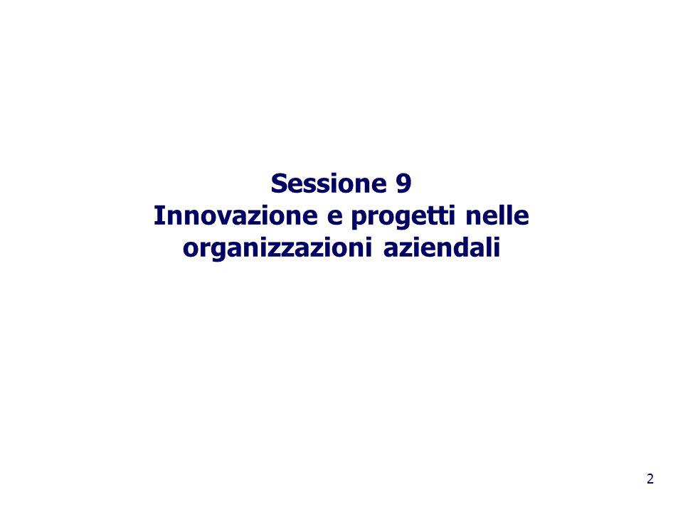 Sessione 9 Innovazione e progetti nelle organizzazioni aziendali