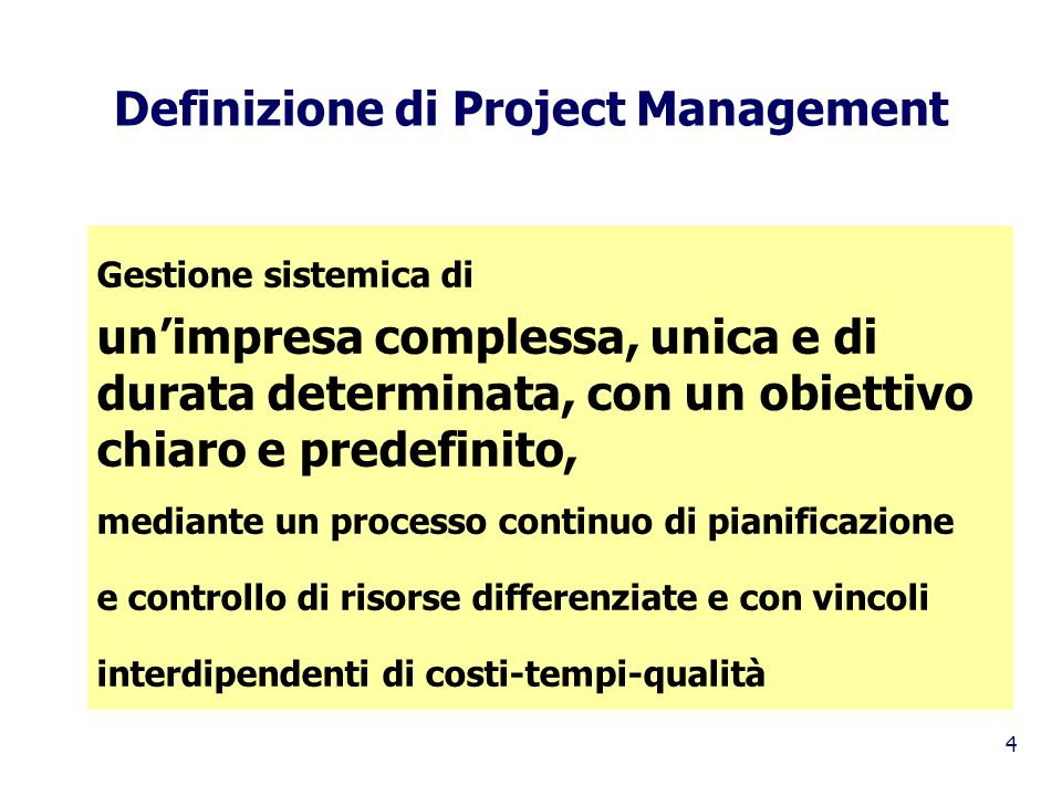 Definizione di Project Management