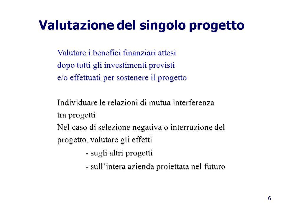 Valutazione del singolo progetto