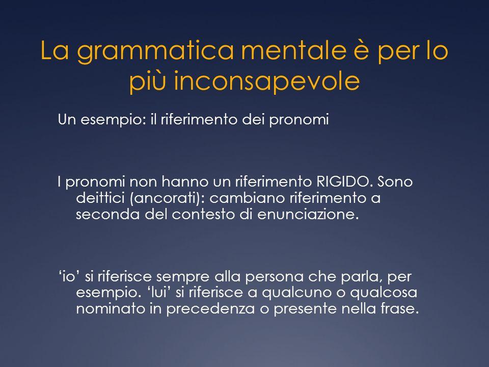 La grammatica mentale è per lo più inconsapevole