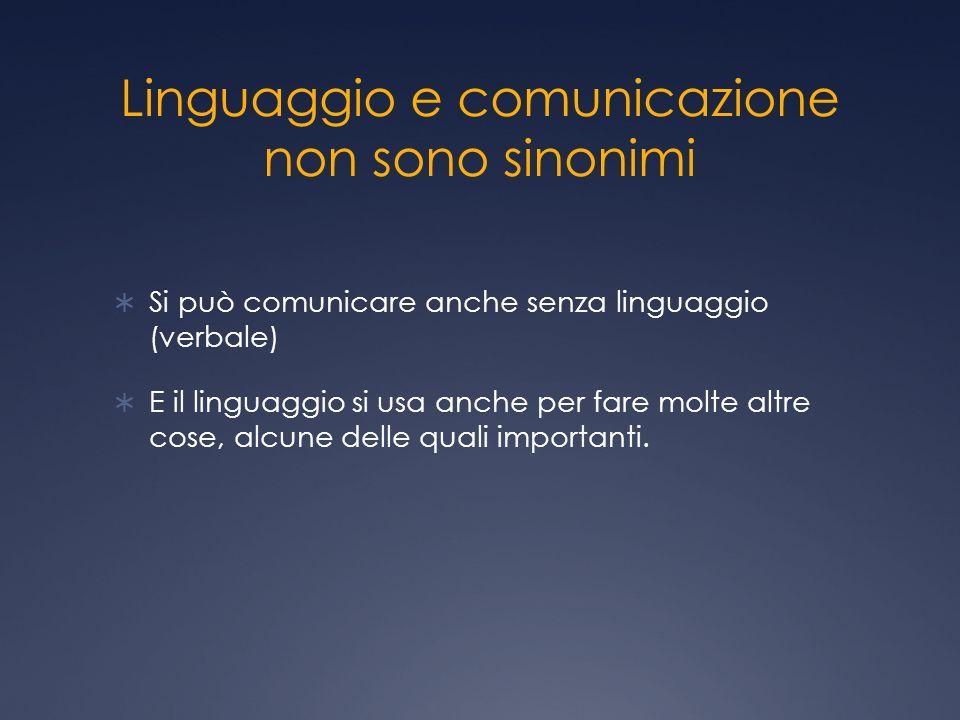 Linguaggio e comunicazione non sono sinonimi