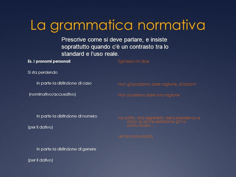 La grammatica normativa
