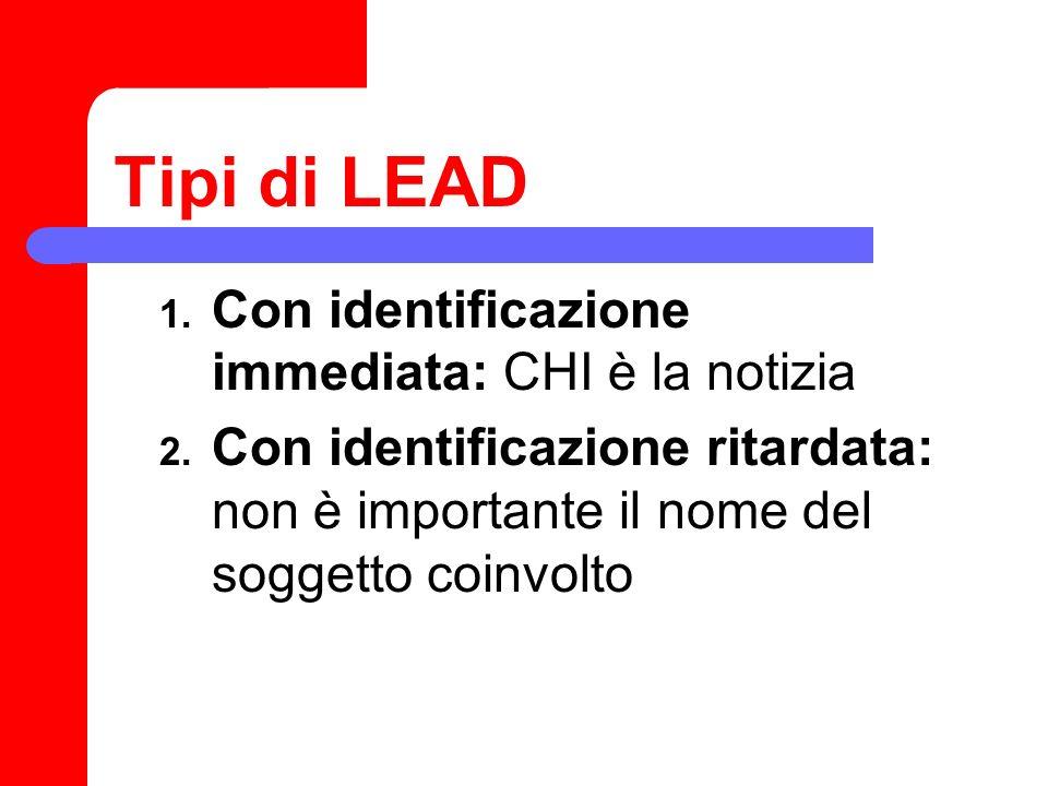 Tipi di LEAD Con identificazione immediata: CHI è la notizia