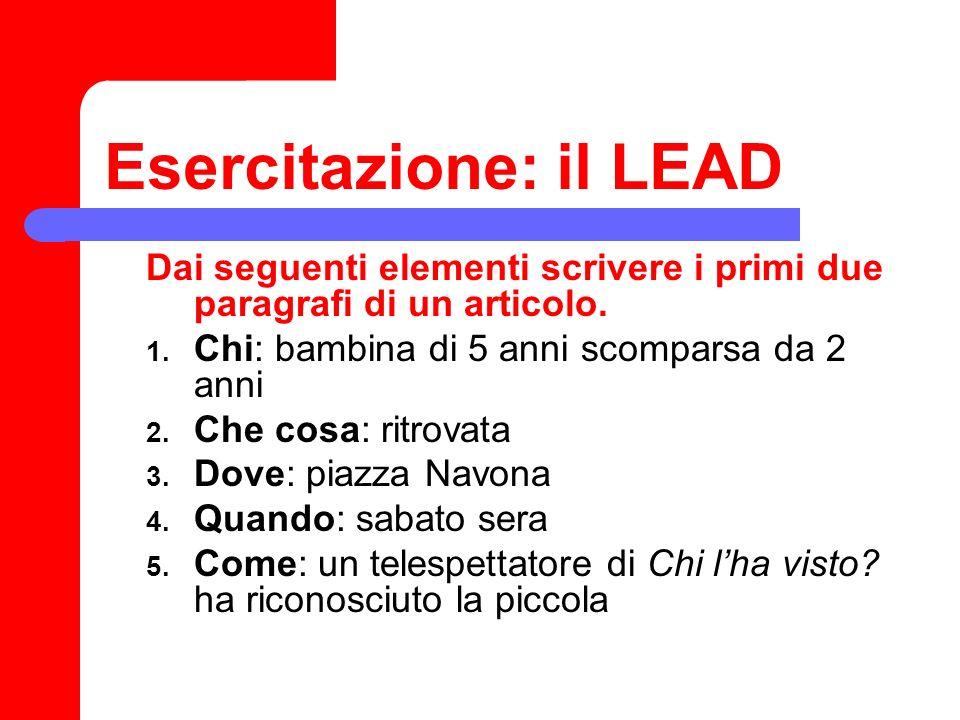 Esercitazione: il LEAD
