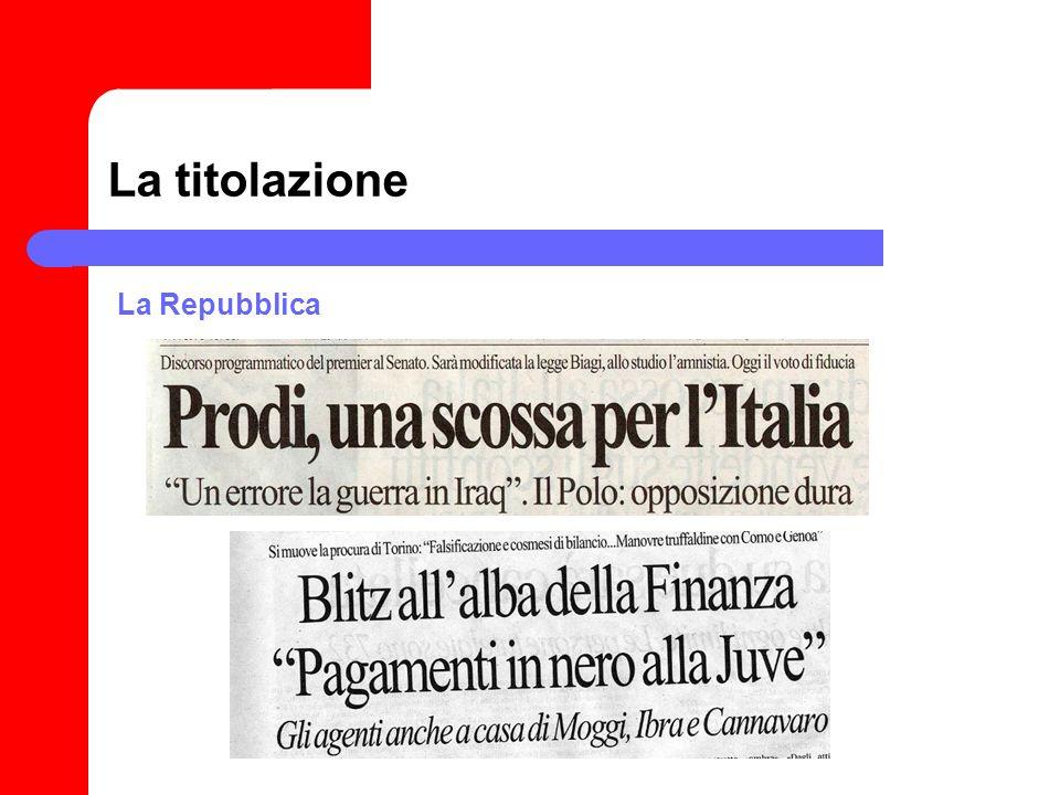 La titolazione La Repubblica