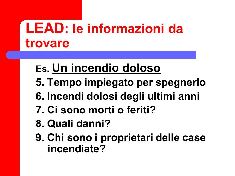 LEAD: le informazioni da trovare