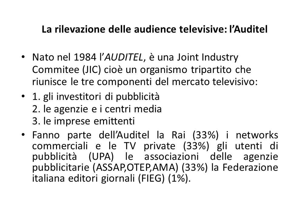 La rilevazione delle audience televisive: l'Auditel