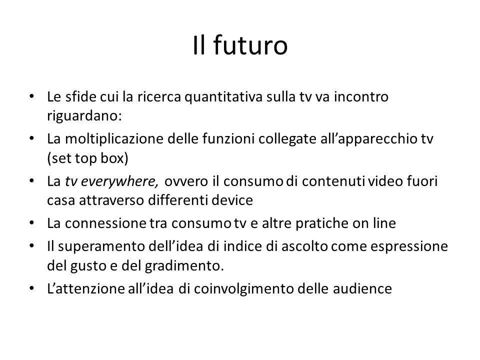 Il futuro Le sfide cui la ricerca quantitativa sulla tv va incontro riguardano: