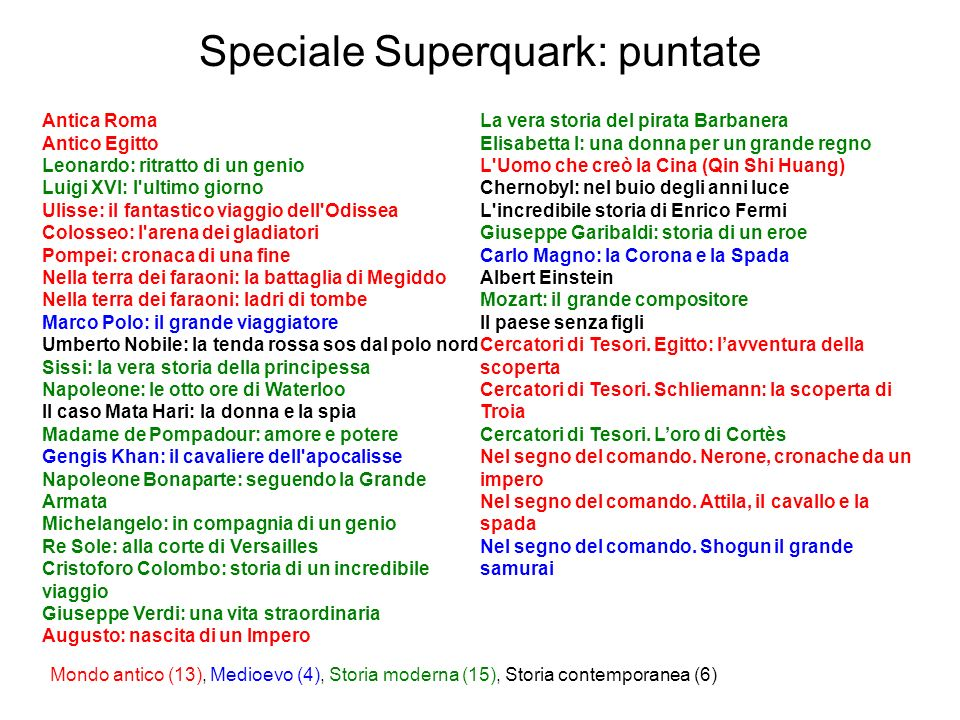 Speciale Superquark: puntate