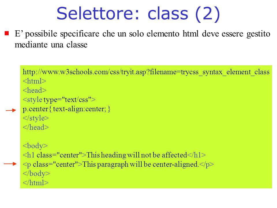 Selettore: class (2) E' possibile specificare che un solo elemento html deve essere gestito. mediante una classe.