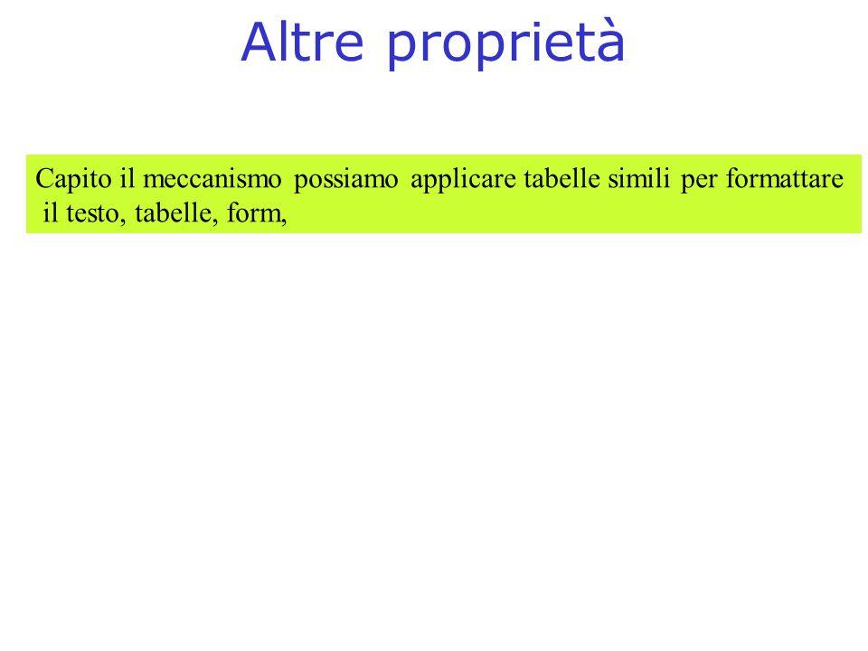 Altre proprietà Capito il meccanismo possiamo applicare tabelle simili per formattare.