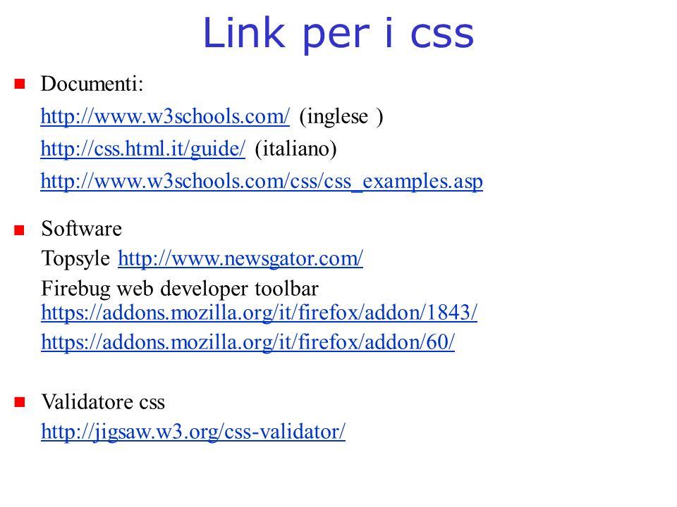 Link per i css Documenti: http://www.w3schools.com/ (inglese )