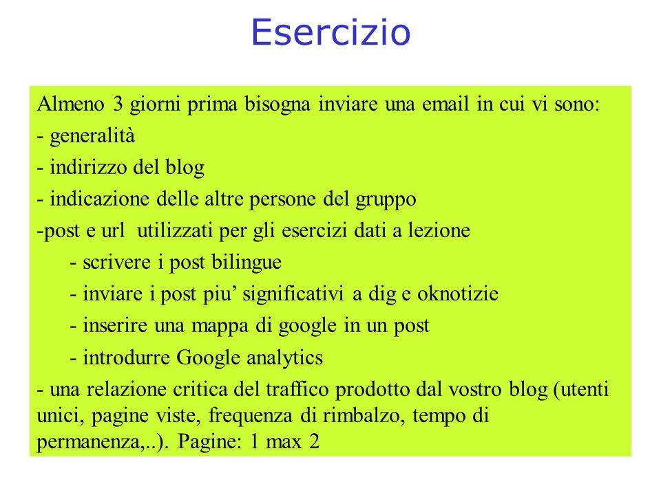 Esercizio Almeno 3 giorni prima bisogna inviare una email in cui vi sono: generalità. indirizzo del blog.