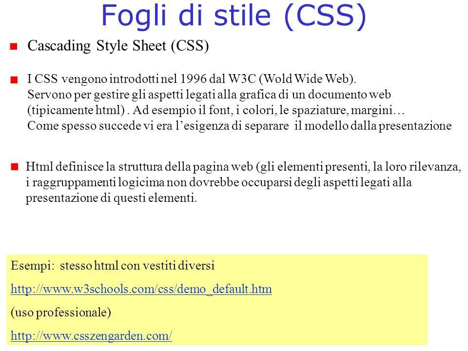 Fogli di stile (CSS) Cascading Style Sheet (CSS)