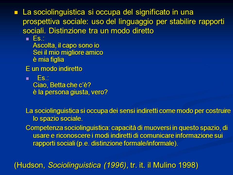 (Hudson, Sociolinguistica (1996), tr. it. il Mulino 1998)