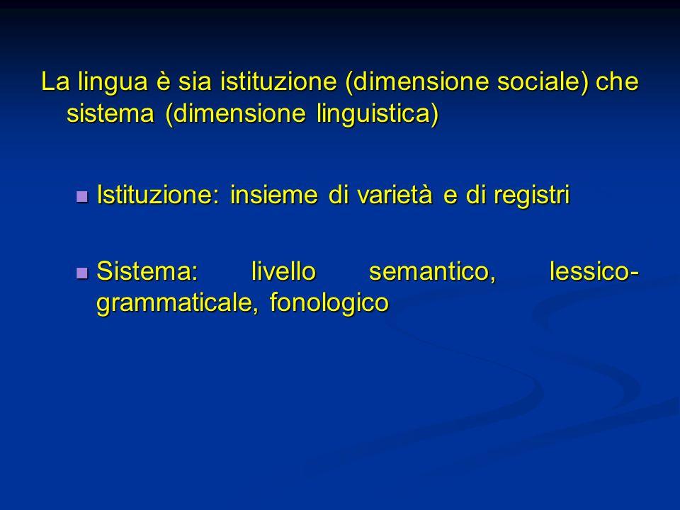 La lingua è sia istituzione (dimensione sociale) che sistema (dimensione linguistica)