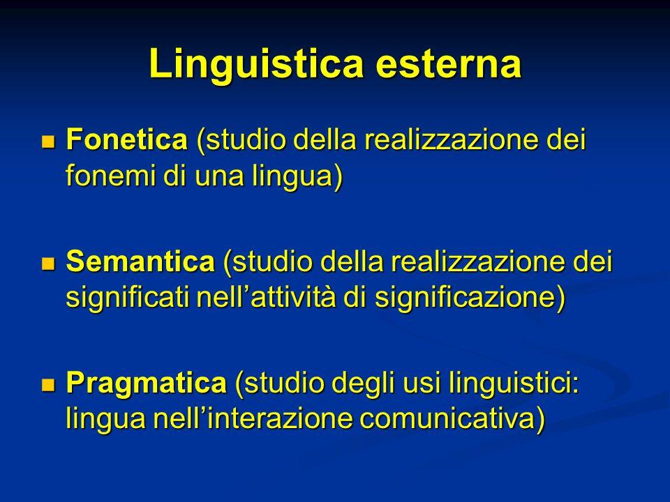 Linguistica esterna Fonetica (studio della realizzazione dei fonemi di una lingua)