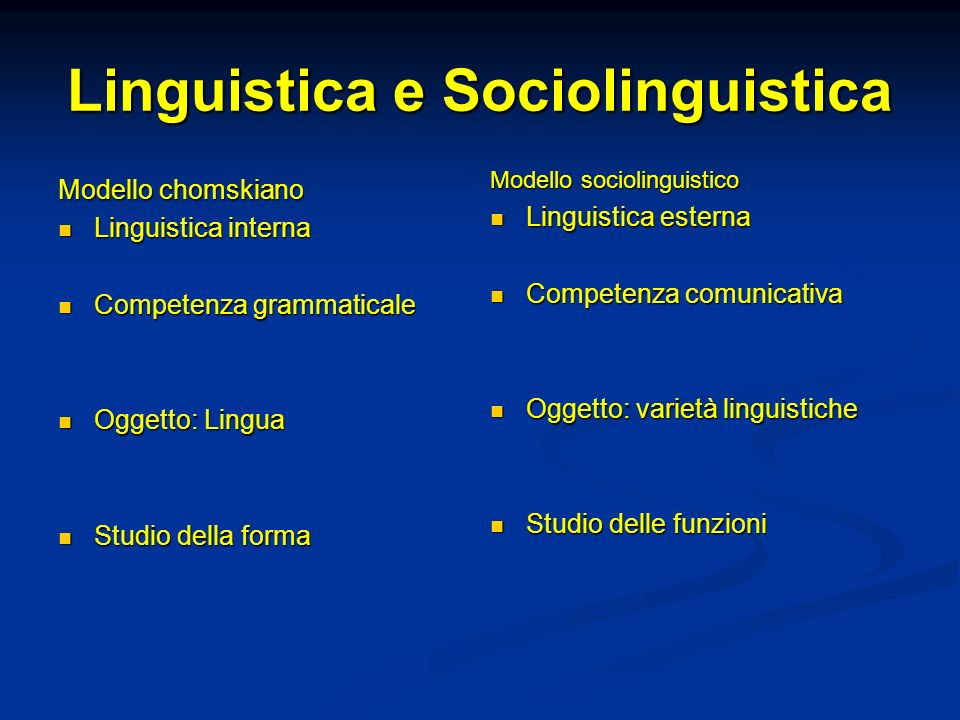 Linguistica e Sociolinguistica