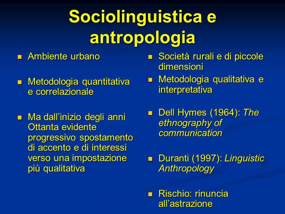 Sociolinguistica e antropologia