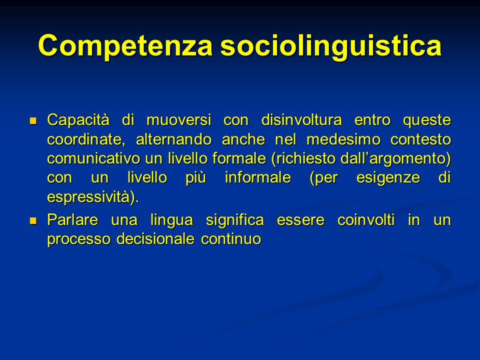Competenza sociolinguistica