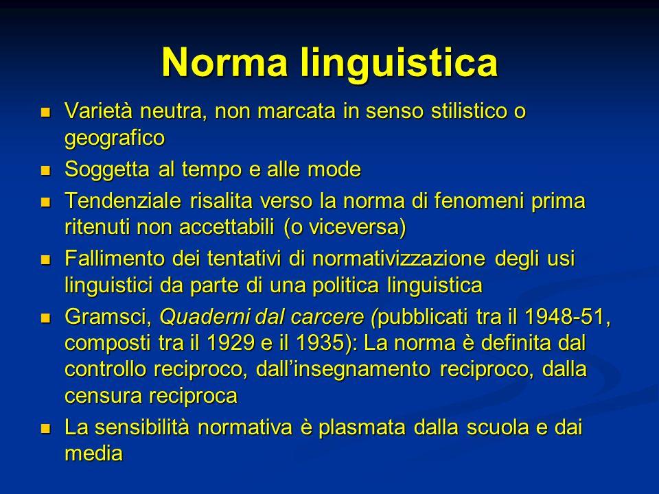 Norma linguistica Varietà neutra, non marcata in senso stilistico o geografico. Soggetta al tempo e alle mode.