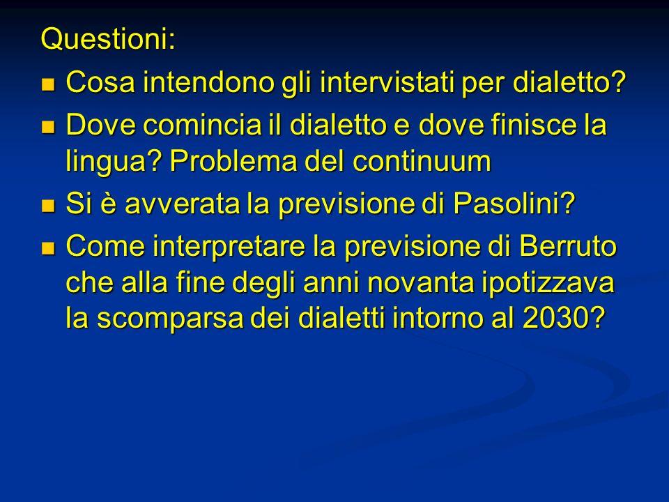 Questioni: Cosa intendono gli intervistati per dialetto Dove comincia il dialetto e dove finisce la lingua Problema del continuum.