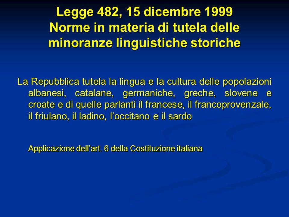 Legge 482, 15 dicembre 1999 Norme in materia di tutela delle minoranze linguistiche storiche