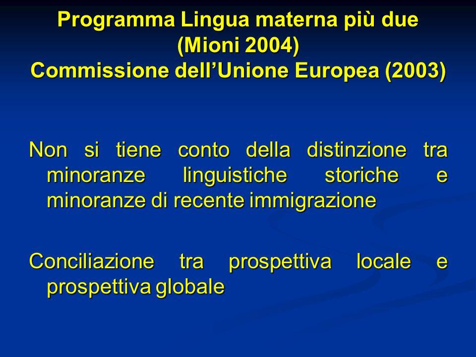 Programma Lingua materna più due (Mioni 2004) Commissione dell'Unione Europea (2003)