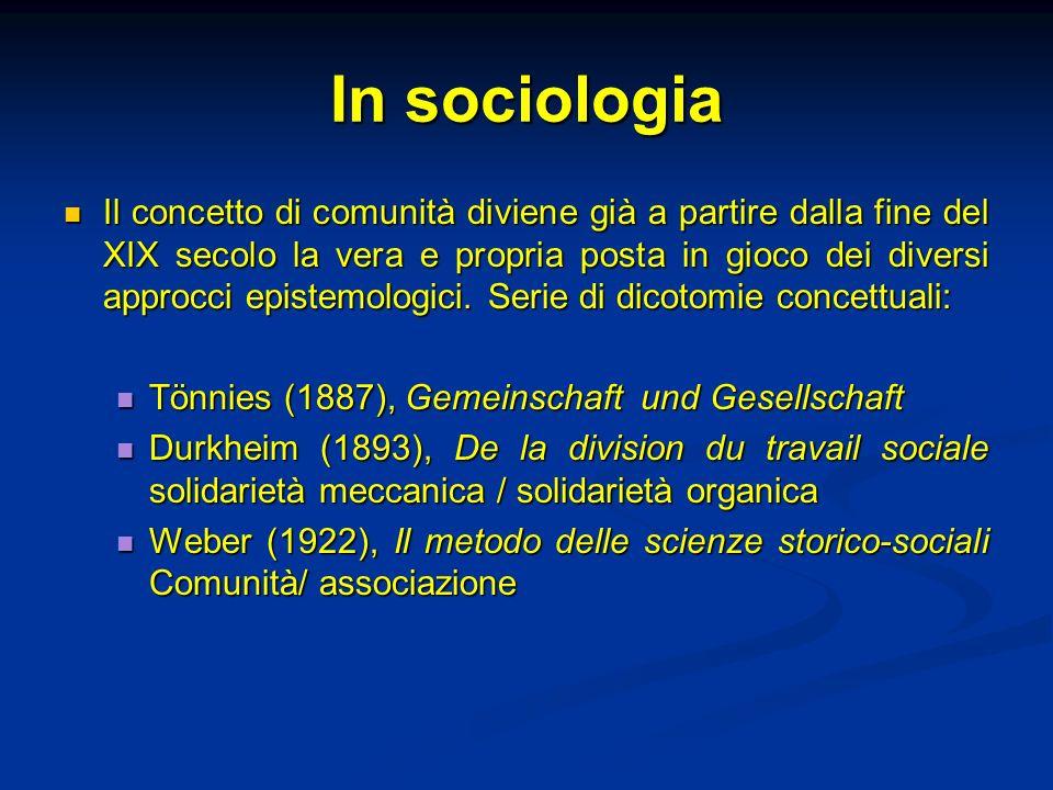 In sociologia