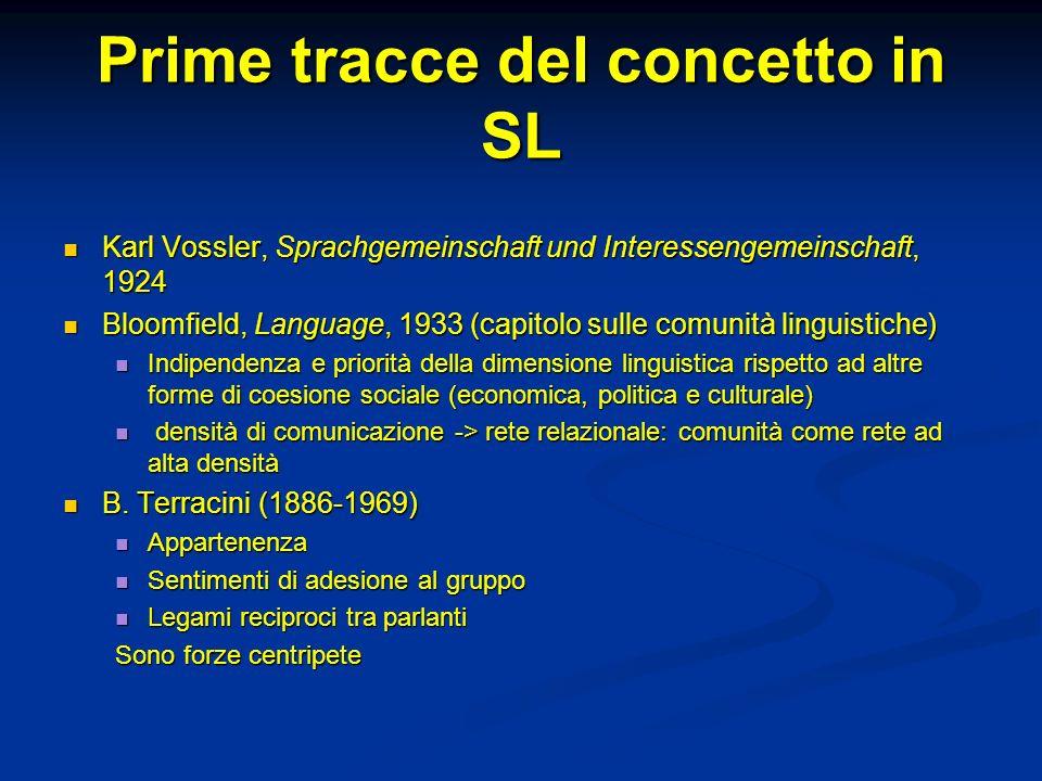 Prime tracce del concetto in SL