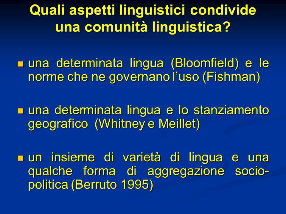 Quali aspetti linguistici condivide una comunità linguistica