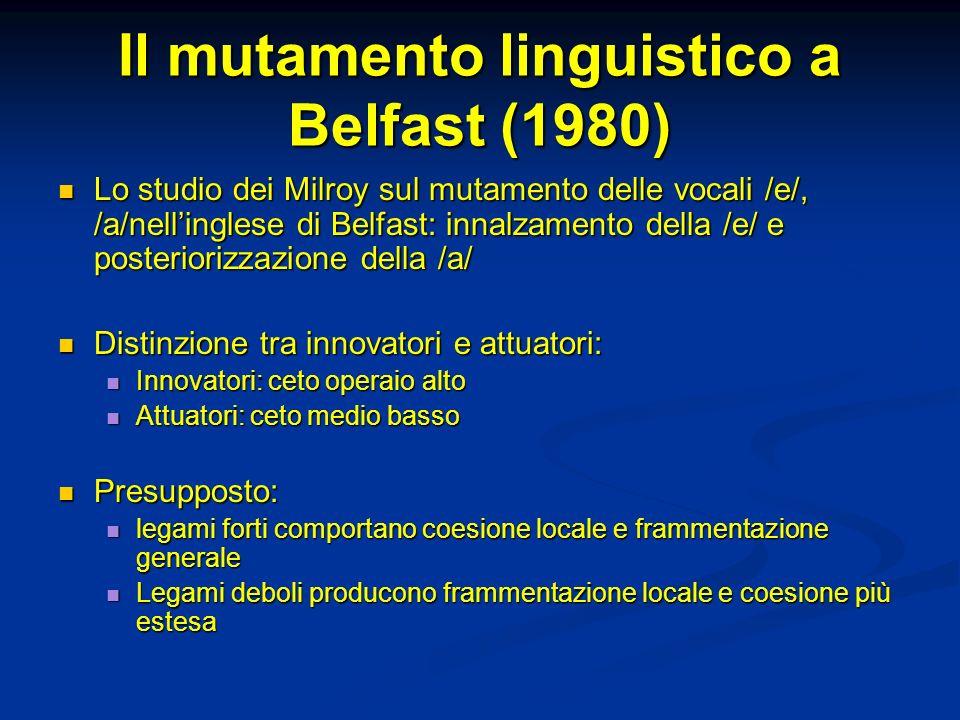 Il mutamento linguistico a Belfast (1980)