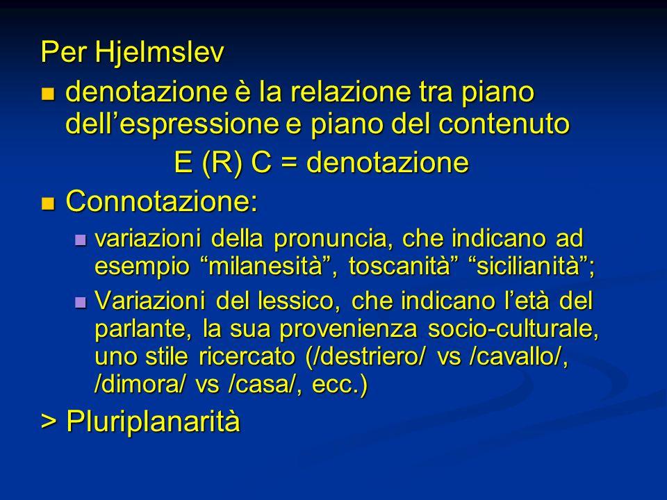 Per Hjelmslev denotazione è la relazione tra piano dell'espressione e piano del contenuto. E (R) C = denotazione.